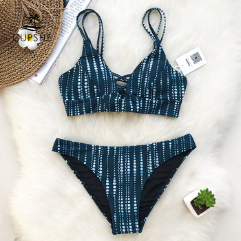 CUPSHE Dream Space Bikini Set Women Lace Up Cross Thong Triangle Bikini Swimwear 2020 Beach Bathing Suit Swimsuit