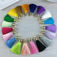Nuevo llavero de borla de seda para mujer, abalorio DIY, llavero, anillo para bolso, monedero, joyería, accesorios para hacer regalos de navidad