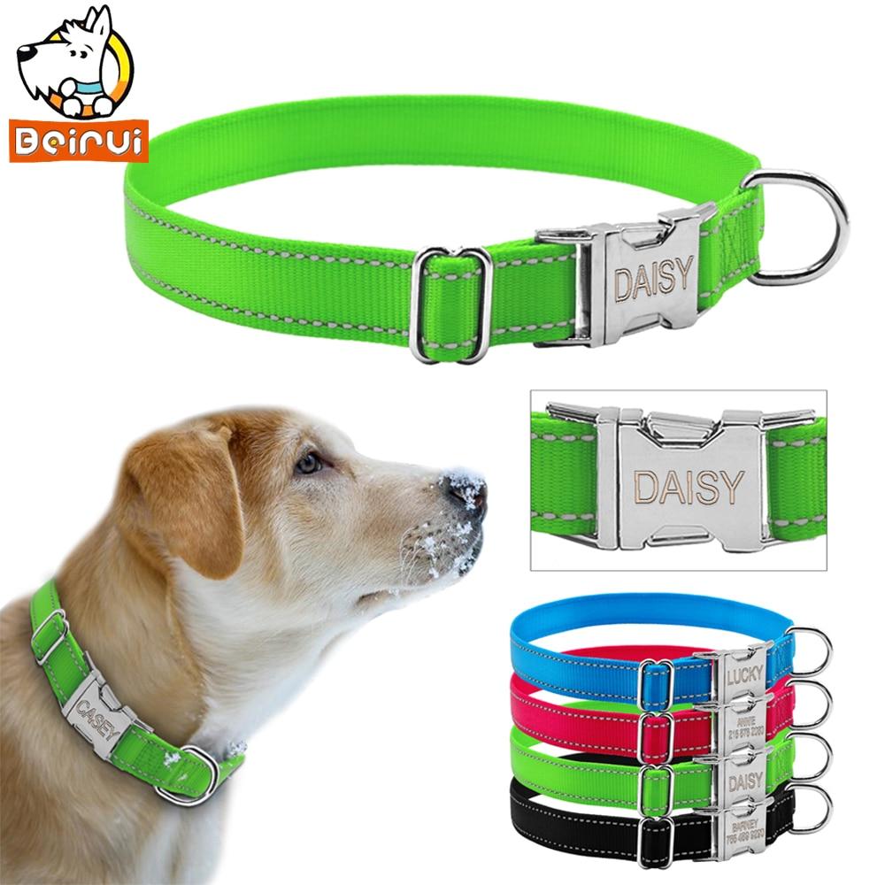Reflektierende Gravierte Hundehalsband Nylon Personalisierte Nacht Sichere Kragen mit Metall Schnalle Für Small Medium Large Pet