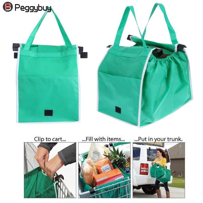 1 pcs/2 pcs Saco de Compras Sacola Dobrável Eco Reutilizáveis Grande Carrinho de Supermercado Sacos de Grande Capacidade Bolsas para As Mulheres