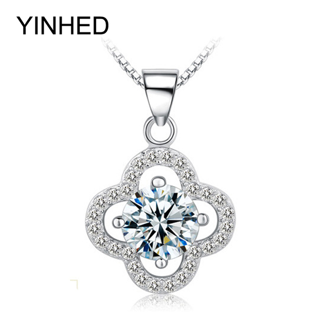 Yinhed brand four leaf clover pendant necklace real 925 sterling yinhed brand four leaf clover pendant necklace real 925 sterling silver with aaa cz diamant pendant aloadofball Image collections