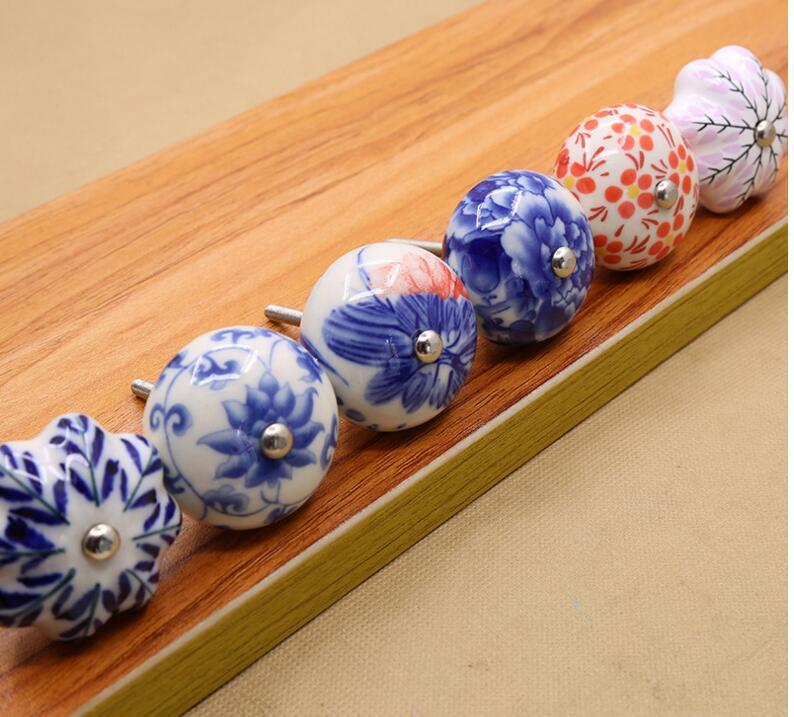 Новое поступление Китай синий и белый фарфор ручка шкафа и тянет Мебельная фурнитура и ручки ...