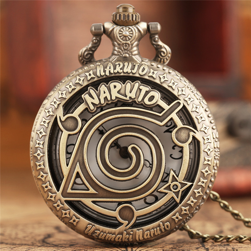 Famous Anime Naruto Pocket Watch Vintage Leaf Figure Pendant NARUTO Fans Cosplay Collectibles Toys Gift For Boys Girls Kids 2017