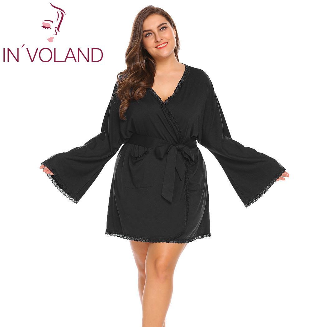 INVOLAND Wrap Kimono Robe Batwing Sleeve Lace Trim Women Belted Spa Bathrobe w/ Pocket Plus