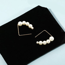 Korean Fashion New Minimalist Pearl String Earrings Port Wind Ladies Temperament Cold Net Red Simple