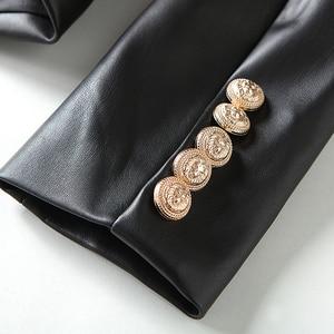 Image 5 - HIGH STREET Newest Baroque Fashion 2020 Designer Blazer Jacket Womens Lion Metal Buttons Faux Leather Blazer Outer Coat