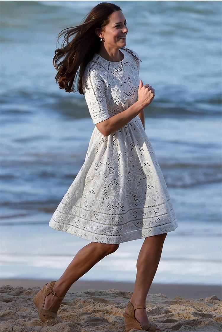 a8459d4bc03 Summer Style Kate Middleton Princess Dress Aliexpress uk 2017 Short-sleeved Cotton  Elegant Women White Embroidered Dress 533120