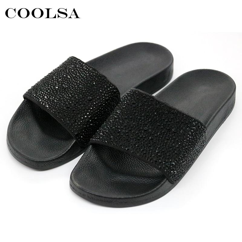 9c9ec410438 COOLSA Hot Summer Women Slippers Rhinestone Bling Slides Flat Soft Home Flip  Flops Female Sparkling Crystal