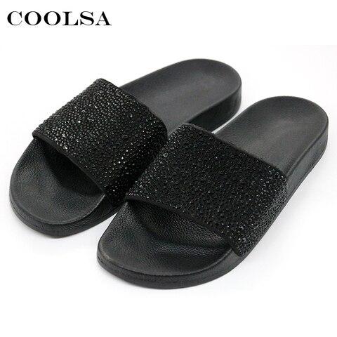 7f36ad11e COOLSA Hot Summer Women Slippers Rhinestone Bling Slides Flat Soft Home  Flip Flops Female Sparkling Crystal Shoes Beach Sandals in Pakistan