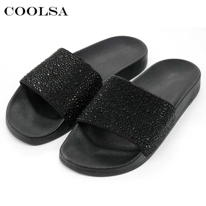 Coolsa Musim Panas Wanita Sandal Berlian Imitasi Bling Slide Datar Lembut Home Sandal Jepit Wanita Sparkling Crystal Sepatu Pantai Sandal