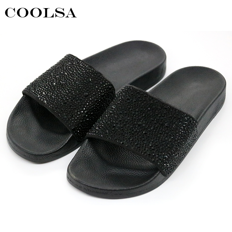 Coolsa quente verão feminino chinelos de strass bling slides plana suave casa flip flops feminino espumante sapatos de cristal sandálias praia