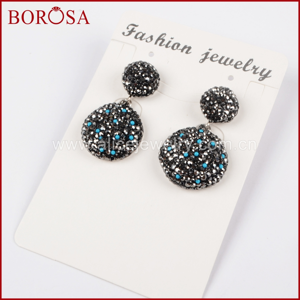 BOROSA Silver Color Round Charm Druzy Drop Earrings, Stylish Rhinestone Pave CZ Dangle Earrings Gems Jewelry for Women JAB772