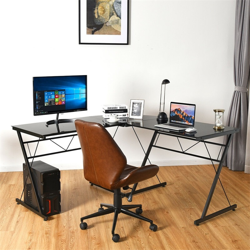 L-Shape Computer Desk Tempered Glass Laptop Table Home Office Furniture Multi-functional Corner Desk HW61188