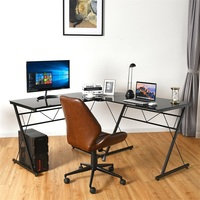 L Shape Computer Desk Tempered Glass Laptop Table Home Office Furniture Multi functional Corner Desk HW61188