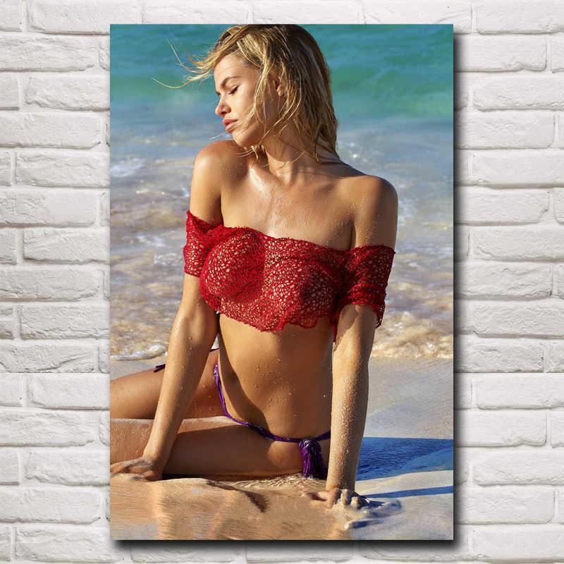 Hailey clauson الساخن مثير بيكيني الإناث نماذج الفن الحرير المشارك ديكور (12x18,16x24,20x30,24x36 بوصة) (شحن مجاني)