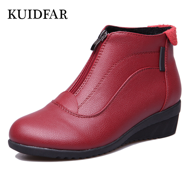 KUIDFAR Autumn Winter Boots Women Ankle Boots Shoes Woman Fashion Wedges Heels Woman Boots High Quality Leather Shoes Female zip