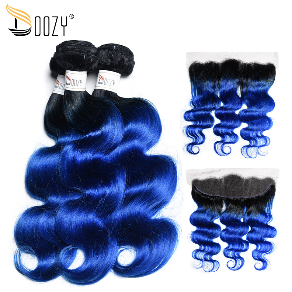 Doozy Body Wave Brazilian Hair 3 Bundles With Ear To Ear Lace Closure Ombre 1b/Blue Remy Human Hair Lace Frontal