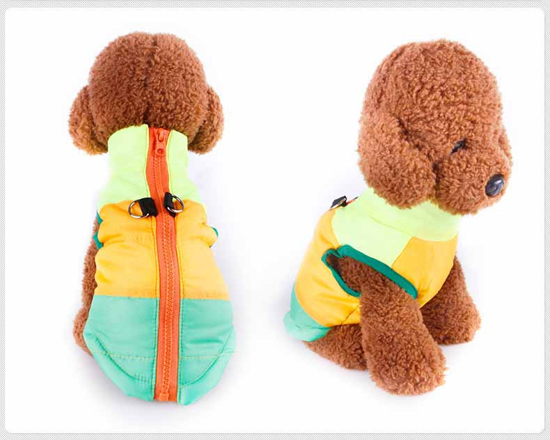 Popular Color Blocking Pet Apparel Dog Clothes Winter Puppy Dogs Vest Cotton-padded Jacket Coat for Chihuahua Teddy Poodle1