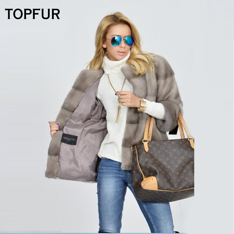 TOPFUR 2018 Luxury Genuine Leather Mink Fur Coats For Young Girlfriend Popular Fashion Loose Real Fur Jackets Soft Fur Outwear