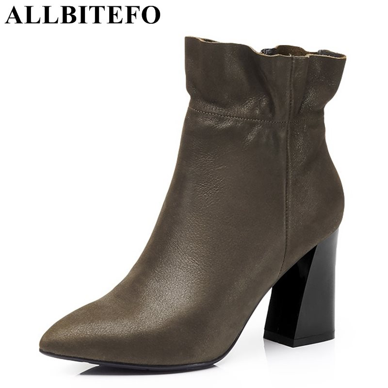 ALLBITEFO fashion retro genuine leather pointed toe thick heel women boots ruffles high heels party shoes girls boots size:33-43 цена 2017