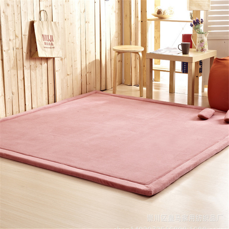 Solid 2cm Thickness Kids Playmat Home Carpet Blanket Soft Coral Velvet Mats Rectangle 100*200cm Bedmat Skidproof Child Game Mat