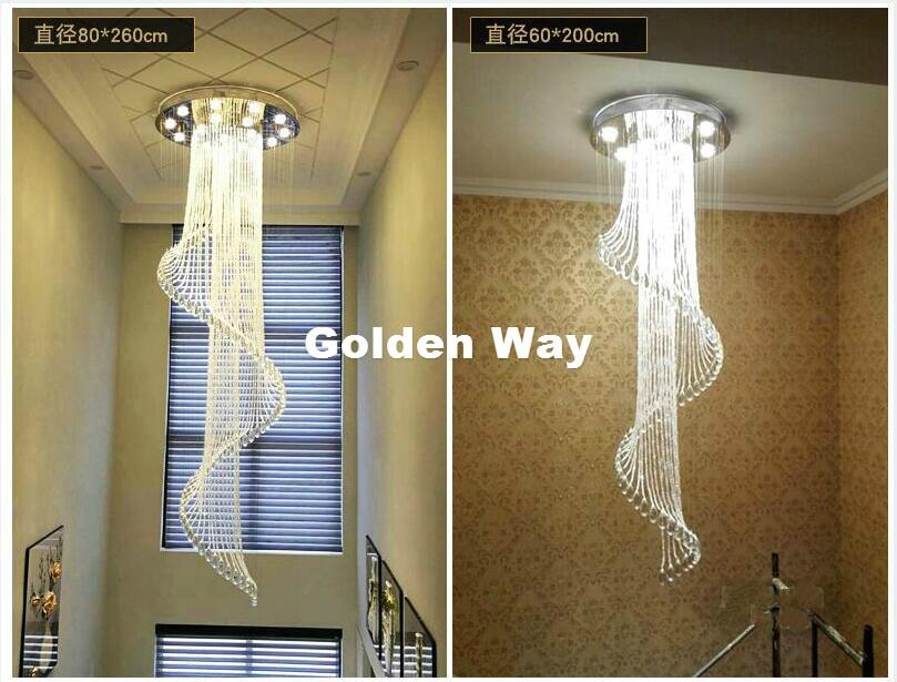 Livraison Gratuite En Cristal Moderne Pendentif Lampe Villa Hall Salon Salle À Manger Lampe Double Escalier Long Lustre En Cristal Éclairage