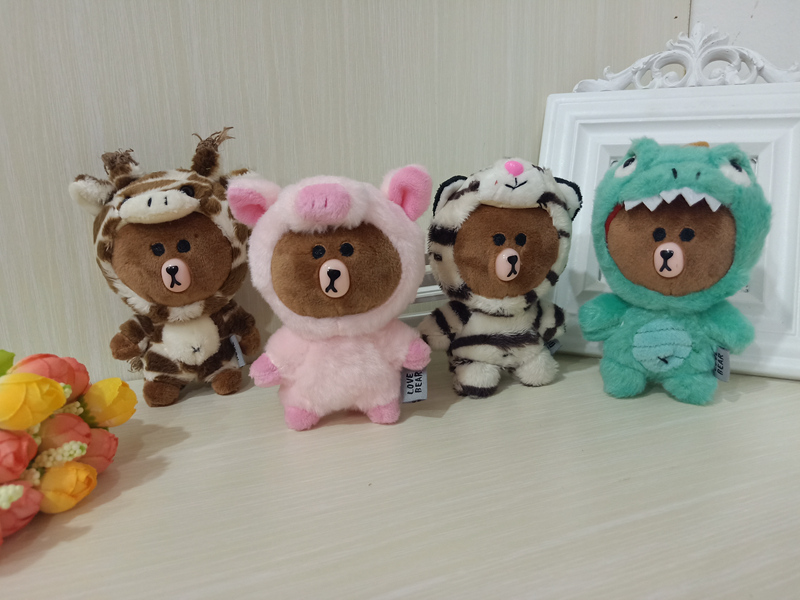 Cute 4 Styles Brown Bear Friends Cosplay Pink Piggy Giraffe Dinosaur Plush Keychain Kawaii Soft Stuffed Animals Pendant Gift