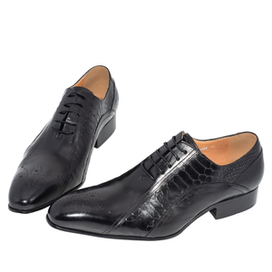 Image 4 - men dress wedding shoes Classic black coffee color luxury brand office formal pointed toe solid oxford Genuine leather mens shoe