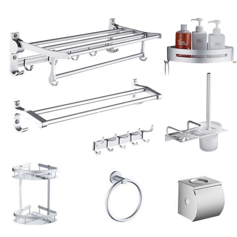 Wall mounted silver towel rack space aluminum folding towel rack brief bathroom shelf toilet bathroom hardware pendant set