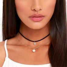 Gothic 2 layers Velvet Choker Necklace Women Imitation Pearl Pendant Necklace Fashion Handmade Retro Jewelry collier ras du cou