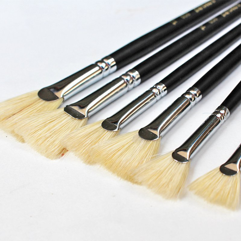 Bristle Painting Brush Different Size Fan Paint Brush For Watercolor Oil Acrylic Painting Gouache Drawing School Art Supplies