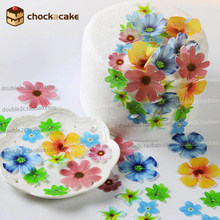Edible flowers for cake decorations,37pcs wafer flowers cake idea decoration,edible paper for cupcake decoration(China)