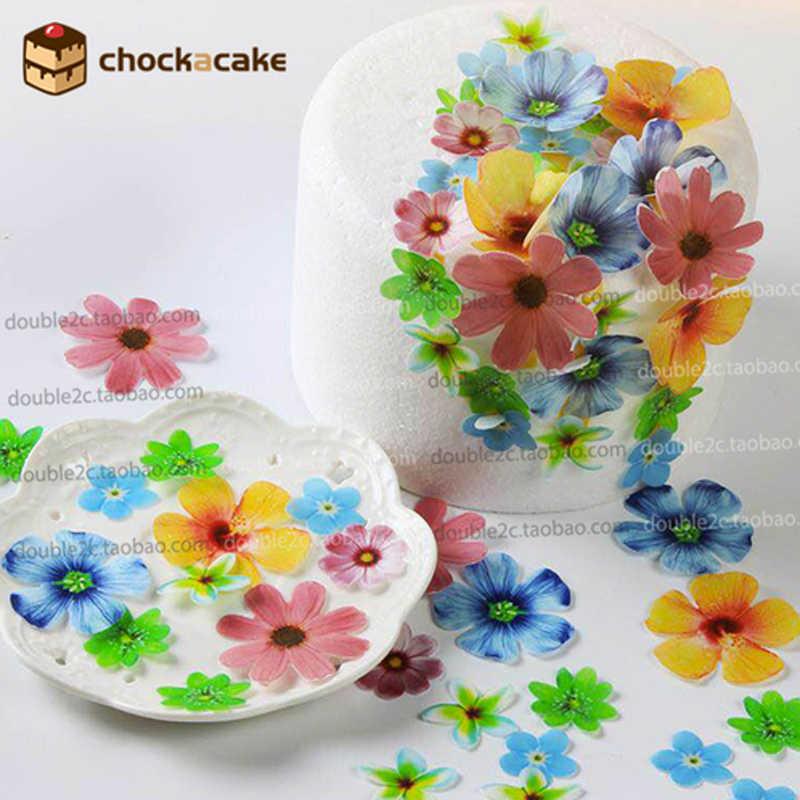 Flores comestibles para decoraciones de magdalenas, 37 Uds oblea pastel de flores soporte de cumpleaños herramientas para decoración de pasteles fiesta cocina suministro