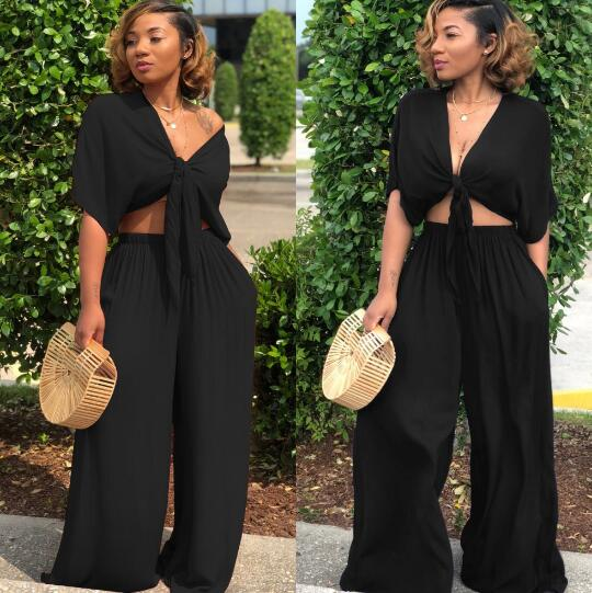 Women Loose Wide Leg Pants Bandage Lace Up Crop Top 2 Piece Set For Female Women V-neck Short Sleeve Two Piece Set Women's Suits