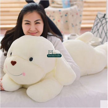 Dorimytrader 120cm Huge Lovely Soft Cartoon lying Dog Plush Pillow 47'' Big Animal Dogs Toy Kids Doll Baby Present DY61542