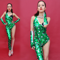 Lovely Mirrors Sequins Jumpsuit Women Sexy Silver Green Spacesuit Female Singer DS Dance Stage Wear Costumes Bodysuit Nightclub