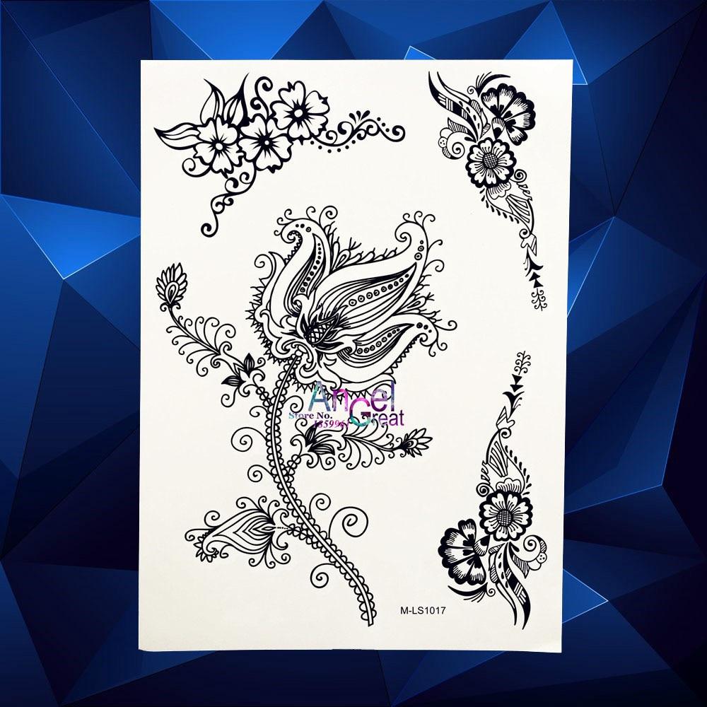 Temporary Black Henna Tattoo: 1PC Henna Lotus Temporary Tattoo Body Art Lace Vines