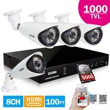 ZOSI 8CH H.264 D1 DVR 4x 1000TVL CMOS IR 36 UNIDS Leds de Día/Noche Sistema de Vigilancia de la Cámara CCTV Exterior 100ft 500 GB HDD
