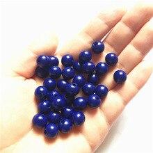 Лидер продаж 10 мм деревянные бусины круглый шар Свободные Spacer Бусины для самостоятельного изготовления ювелирных украшений Цепочки и ожерелья делая 100 шт./компл. синий