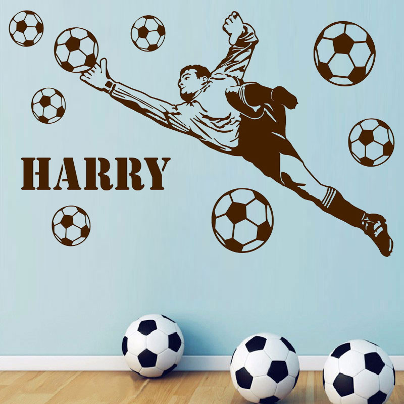 Goalkeeper Personalized Name Football Player Balls Vinyl Wall Sticker Bedroom