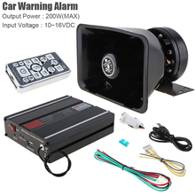 12V 200W 18 Tone Hands-Free Loud Car Warning Alarm Remote Control Siren Amplifier Siren Horn Speaker with MIC System cjb 200z coxswain 200w siren 7 tones with microphone 2 light switch volume adjustable come with 200w speaker