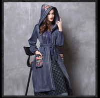 9f7cbccb869 Spring Autumn Vintage Women Lady Denim Dress embroidery hood Cardigan with  windbreaker jacket Jean Dresses with