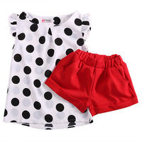 Baby 2pcs Clothing Set 2016 Wholesale Baby Infant Kids Girls Clothes Chiffon Dot Sleeveless Tops Red