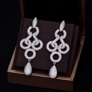 Image 3 - GODKI Brand New Hot Fashion Popular Luxury Long Dangle Full Cubic Zirconia Pave  Wedding Earring For Women