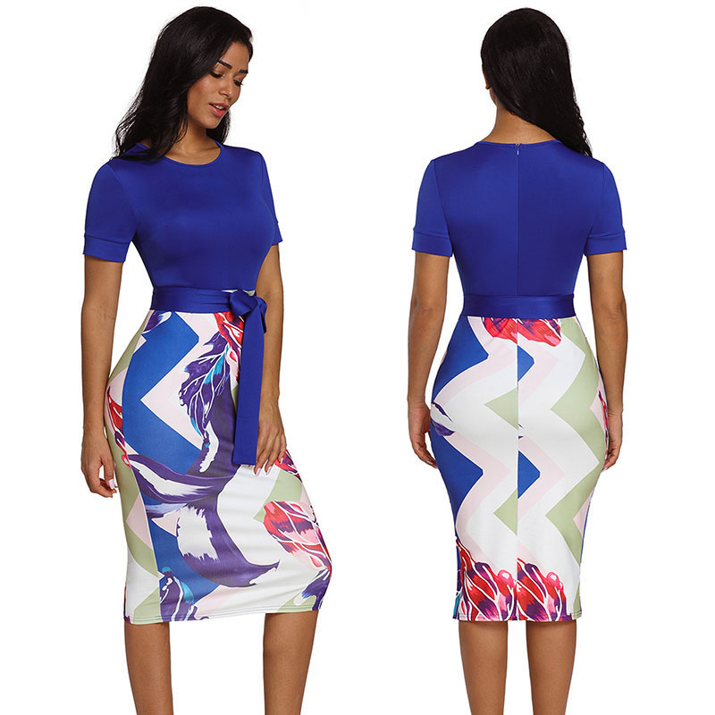 SEBOWEL Office Lady Short Sleeve Print Midi Dress for Work Woman Summer Female  Bodycon Formal Stretch Pencil Dresses with Sashes-in Dresses from Women s  ... b742e6453634