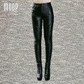 Black genuine leather pants 100% lambskin pencil pants trousers bottom harem pants pantalon femme pantalones mujer LT799