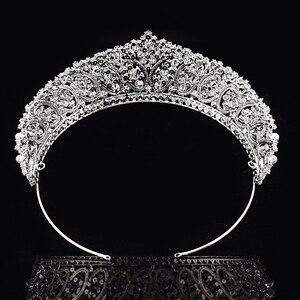 Image 3 - 王冠ヘッドバンドファッショナブルな真珠のデザイン結婚式のヘアアクセサリーの高級ジュエリー aaa + ジルコン BC4955 コロナプリンセサ