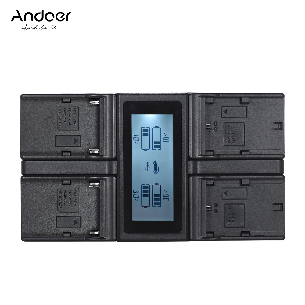 Andoer LP E6 LP E6N NP F970 4 Channel Camera Battery Charger for Canon 5DIII 5DS