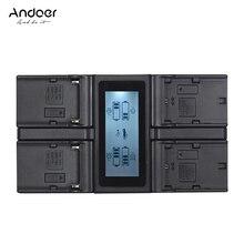 Andoer LP E6 LP E6N NP F970 4 Channel شاحن بطارية الكاميرا لكانون 5 5diii 5DS 5DSR 6d 70d 7DII 80d لسوني f550 f750 الخ