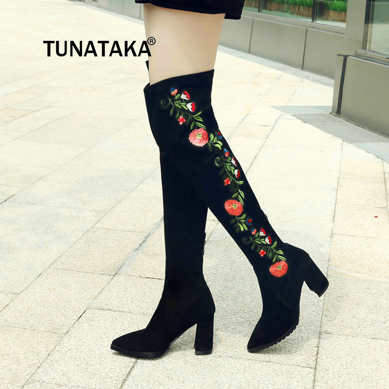 Women New Thigh Boots Fashion Zipper Winter Elastic Boots Comfortable Low Heel Ethnic Embroider Over The Knee Boots Black